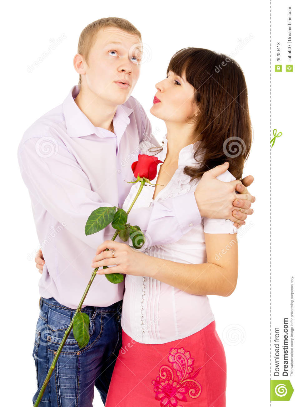 The girl thanked the guy for the rose