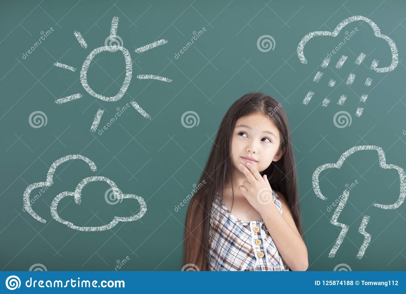 girl thinking about different weather concept