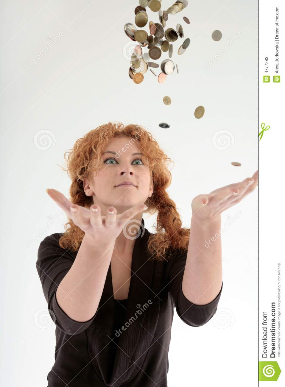 Girl Throwing Coins Into Air Stock Image Image Of