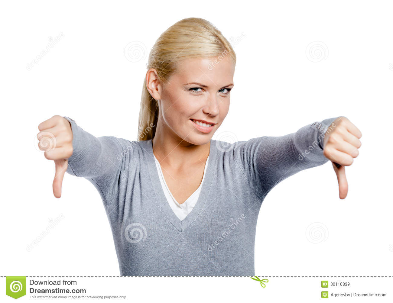 foto de Girl Thumbs Down With Two Hands Stock Image Image of