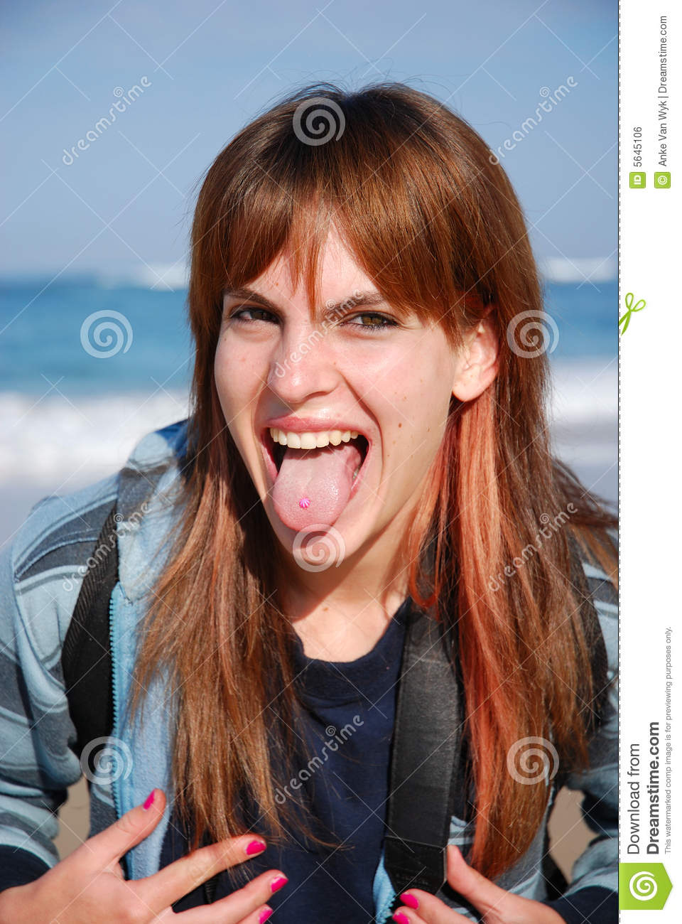 Girl With Tongue Piercing Stock Photo Image Of Mouth 5645106