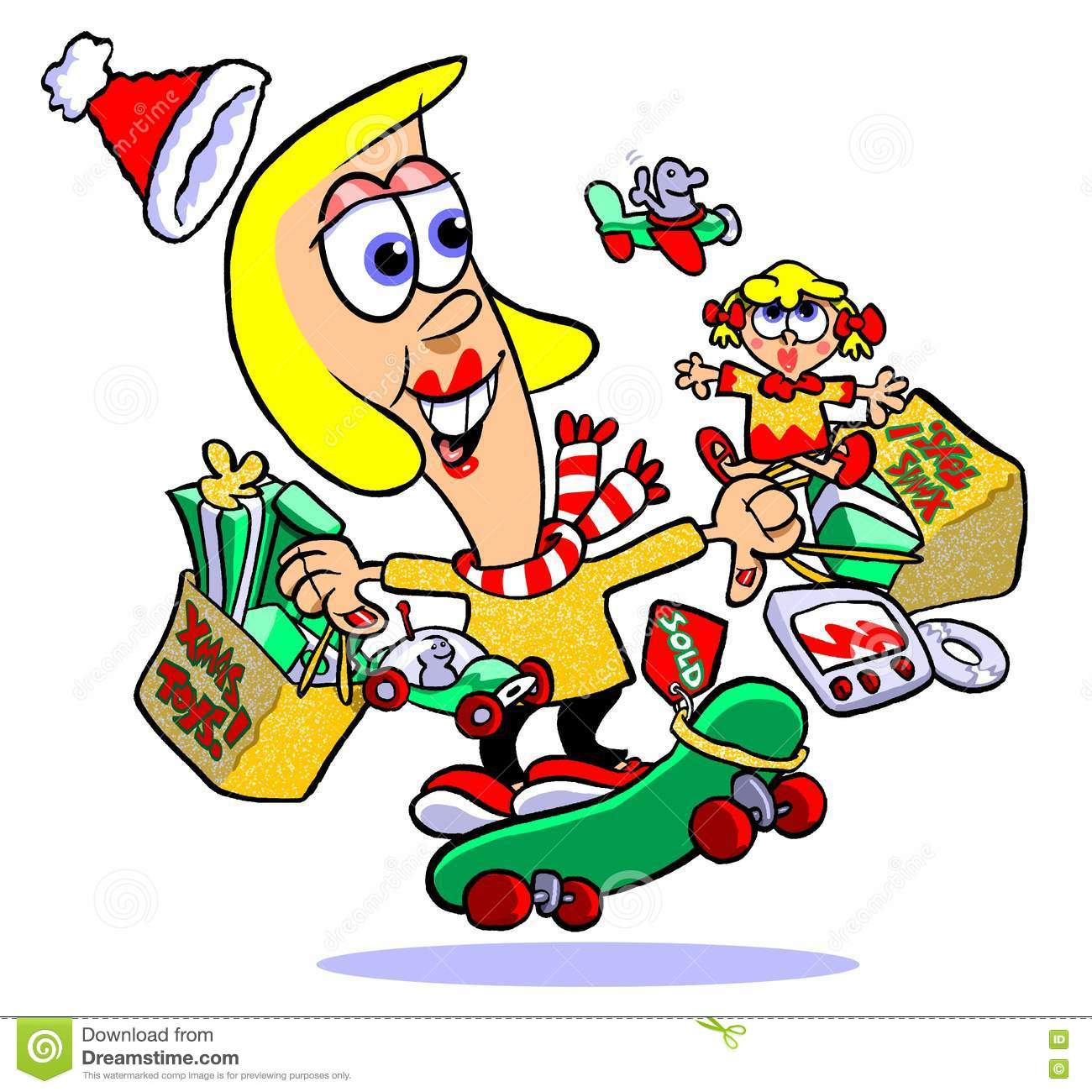 Girl With Too Many Christmas Presents Stock Illustration - Image ...