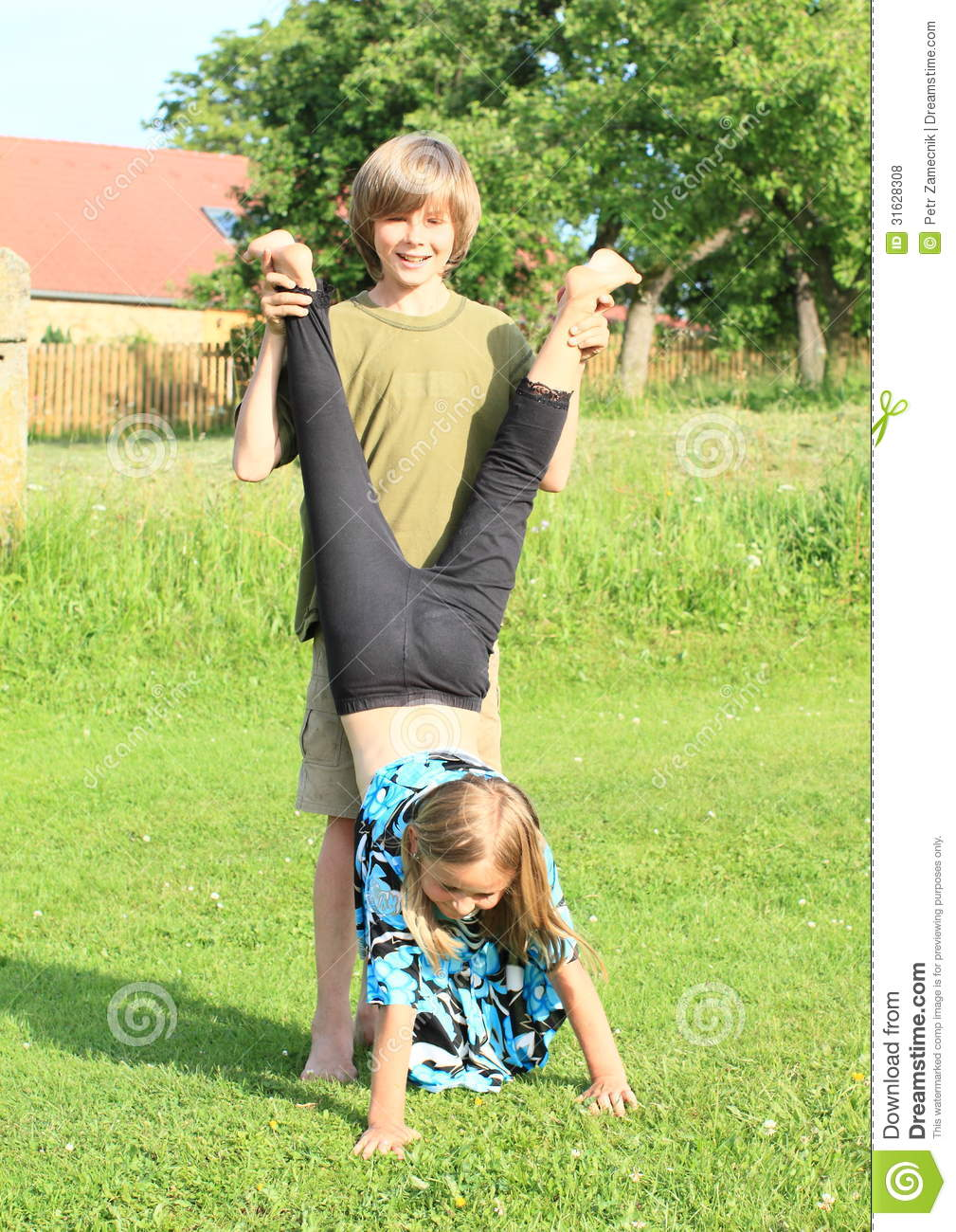 Girl Training Handstand Stock Photo. Image Of Smiling