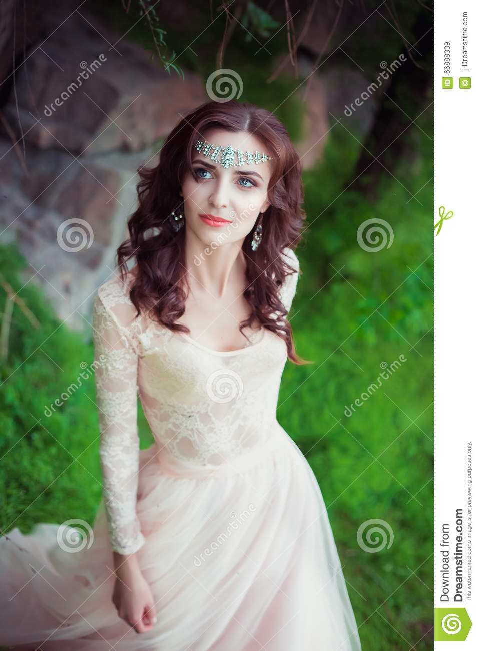 The girl in transparent pastel dress