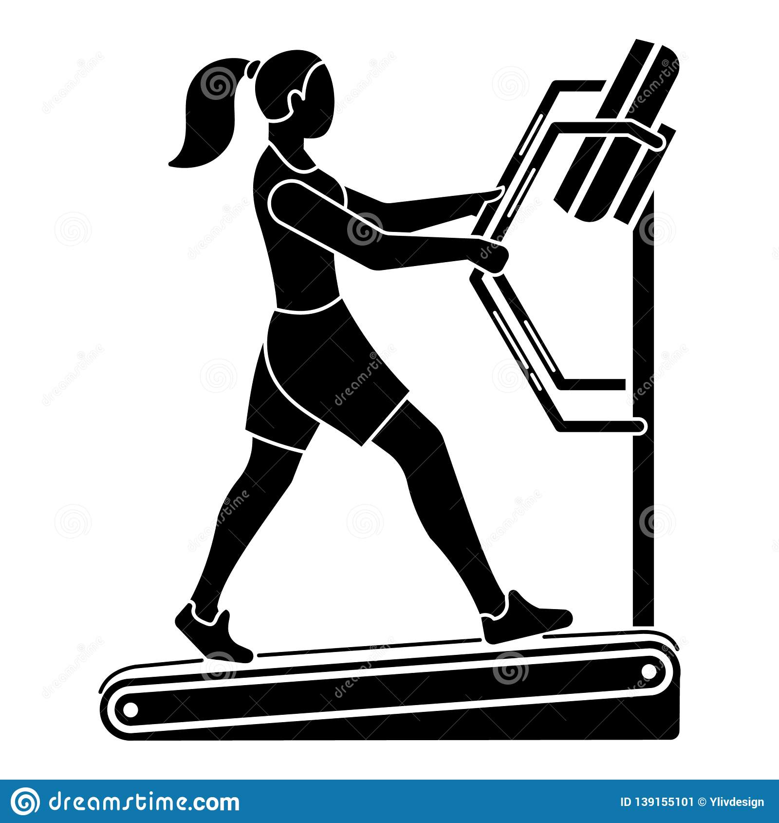 Girl on a treadmill icon, simple style