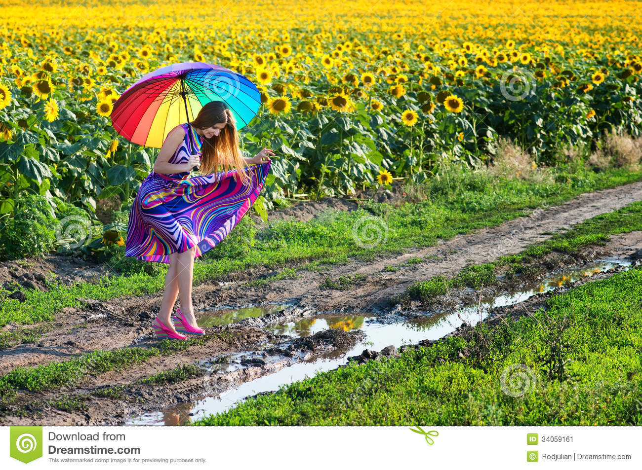 Girl Trying To Walk Over Mud Puddle Stock Image Image Of