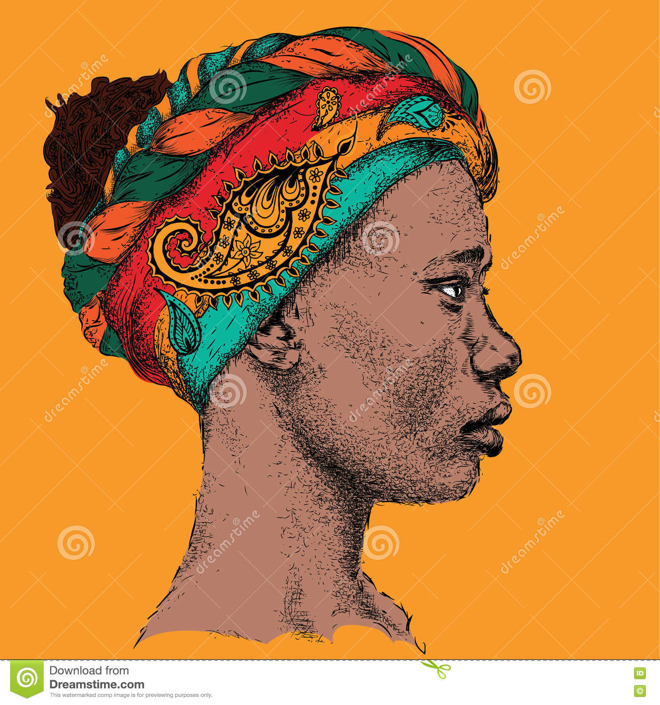 Girl In Turban With African Hand Draw Ethno Pattern, Tribal Background  Beautiful Black Woman Profile View Vector Illustration