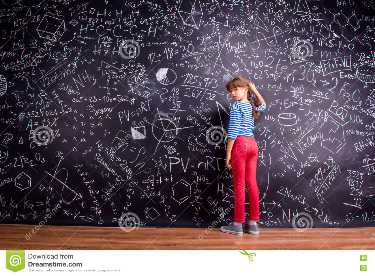 Girl with two braids writing on a big blackboard stock image girl with two braids writing on a big blackboard formula little biocorpaavc Image collections