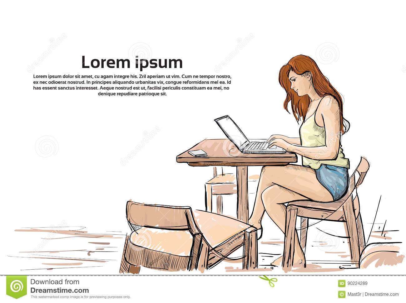 Girl Typing On Laptop Computer Sketch Young Woman Chatting Online Sitting On Chair Living Room Interior