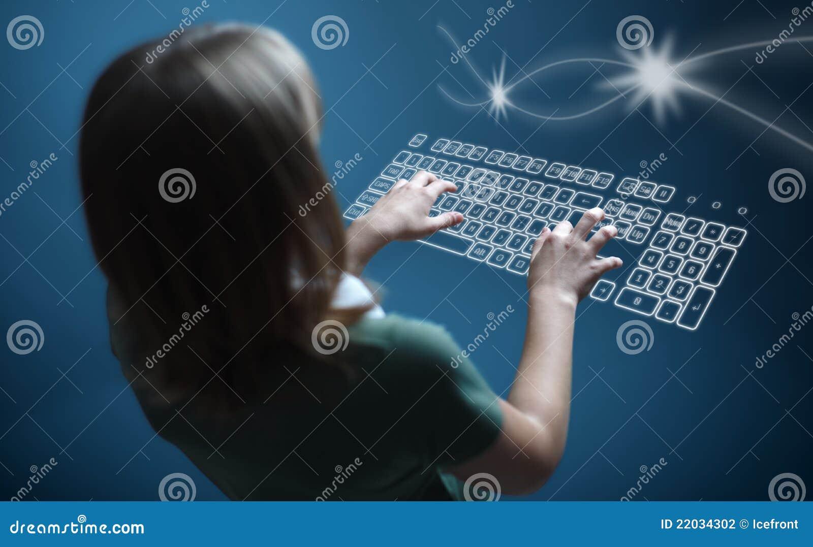 Girl Typing On Virtual Keyboard Stock Photo Image Of