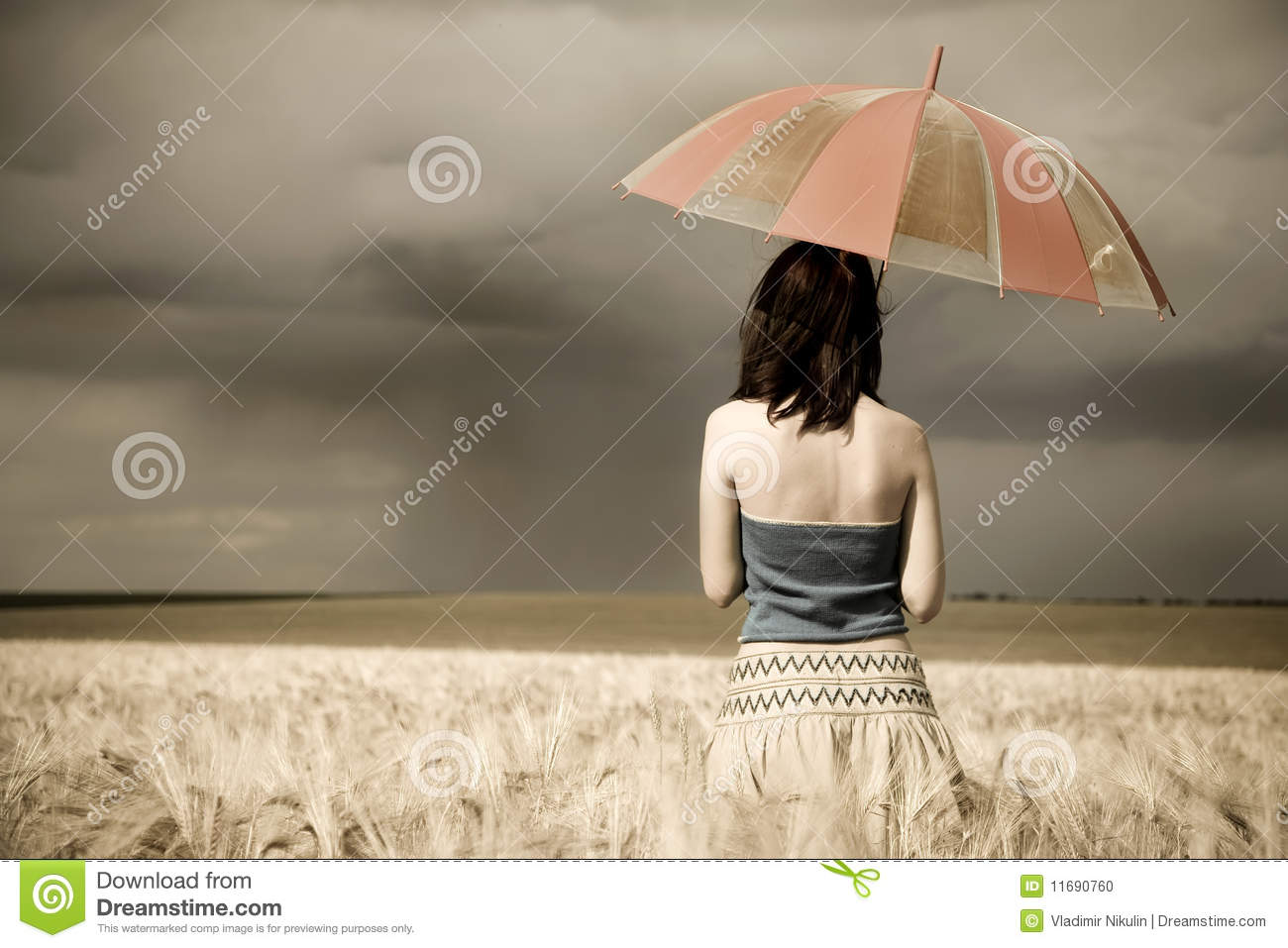 Girl With Umbrella At Field In Retro Style Stock Photo ...