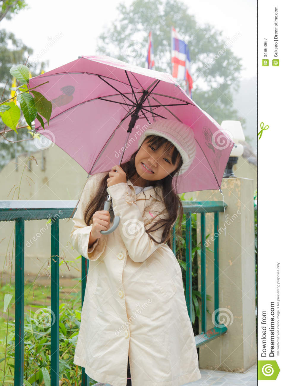 Girl and umbrella stock image. Image of background ...