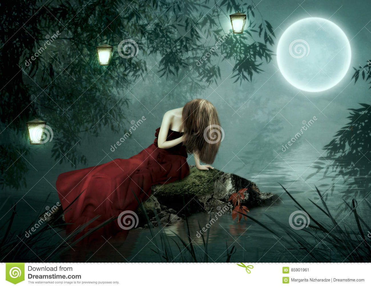 Girl Moonlight Stock Images - 1,243 Photos for sad girl with lamp  45jwn