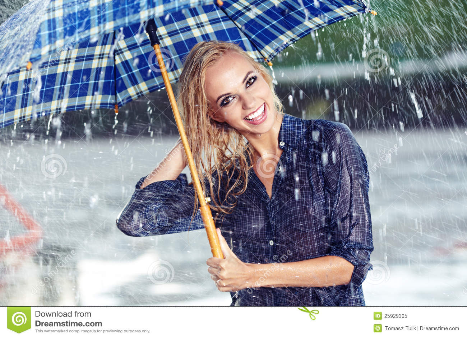 Girl Under Umbrella Watching The Rain Royalty Free Stock