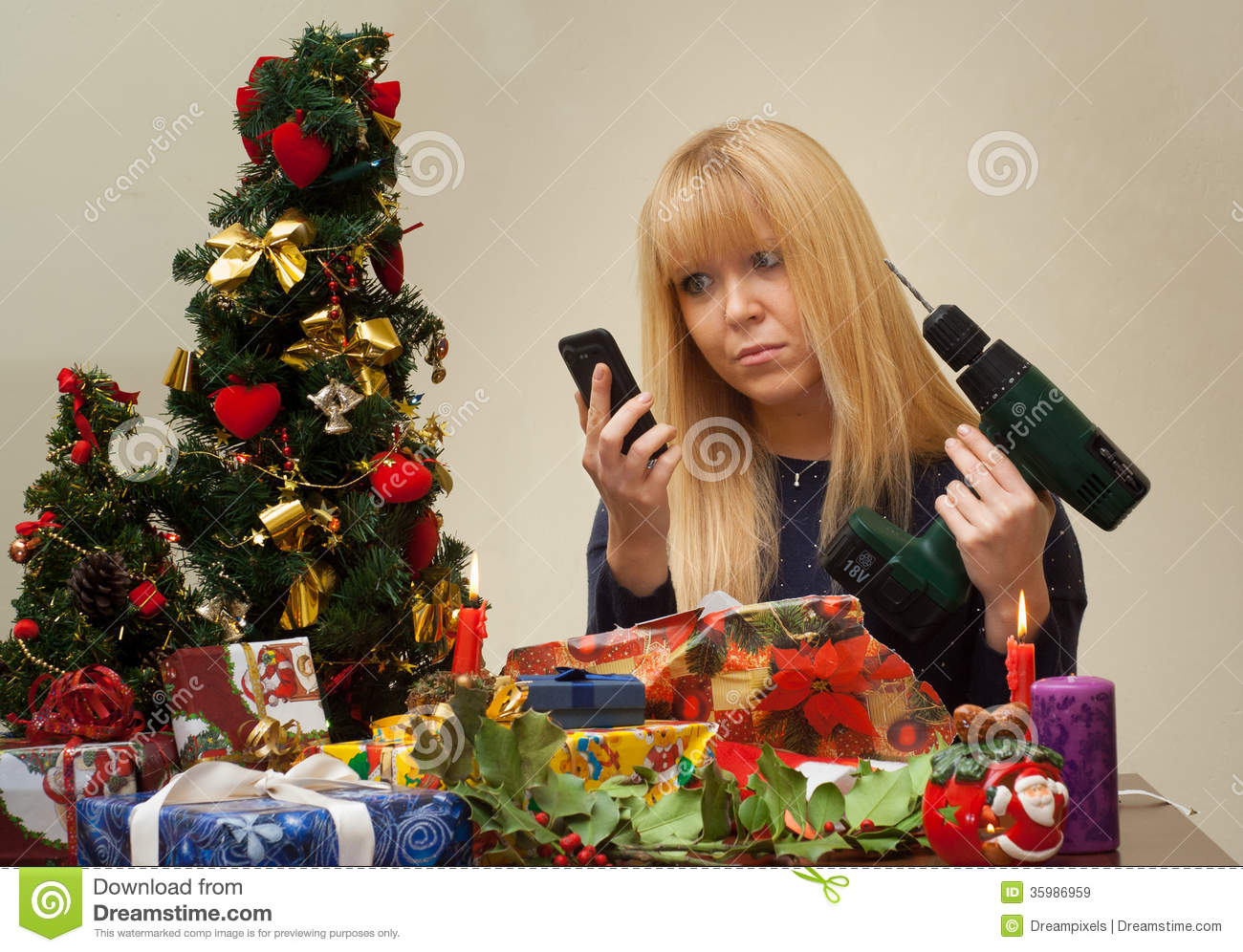 Girl Unhappy Over Wrong Christmas Gift Stock Image - Image of full ...