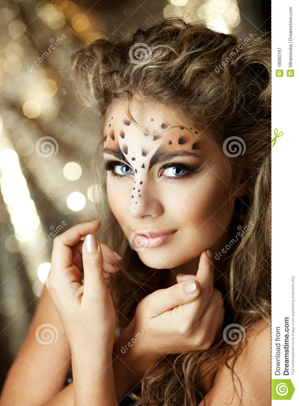 girl with an unusual make up as a leopard stock image image 18680167. Black Bedroom Furniture Sets. Home Design Ideas