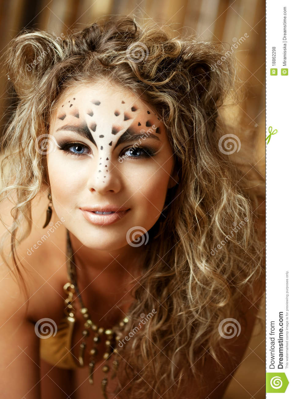 girl with an unusual make up as a leopard stock photo image of glamor bamboo 18862298. Black Bedroom Furniture Sets. Home Design Ideas