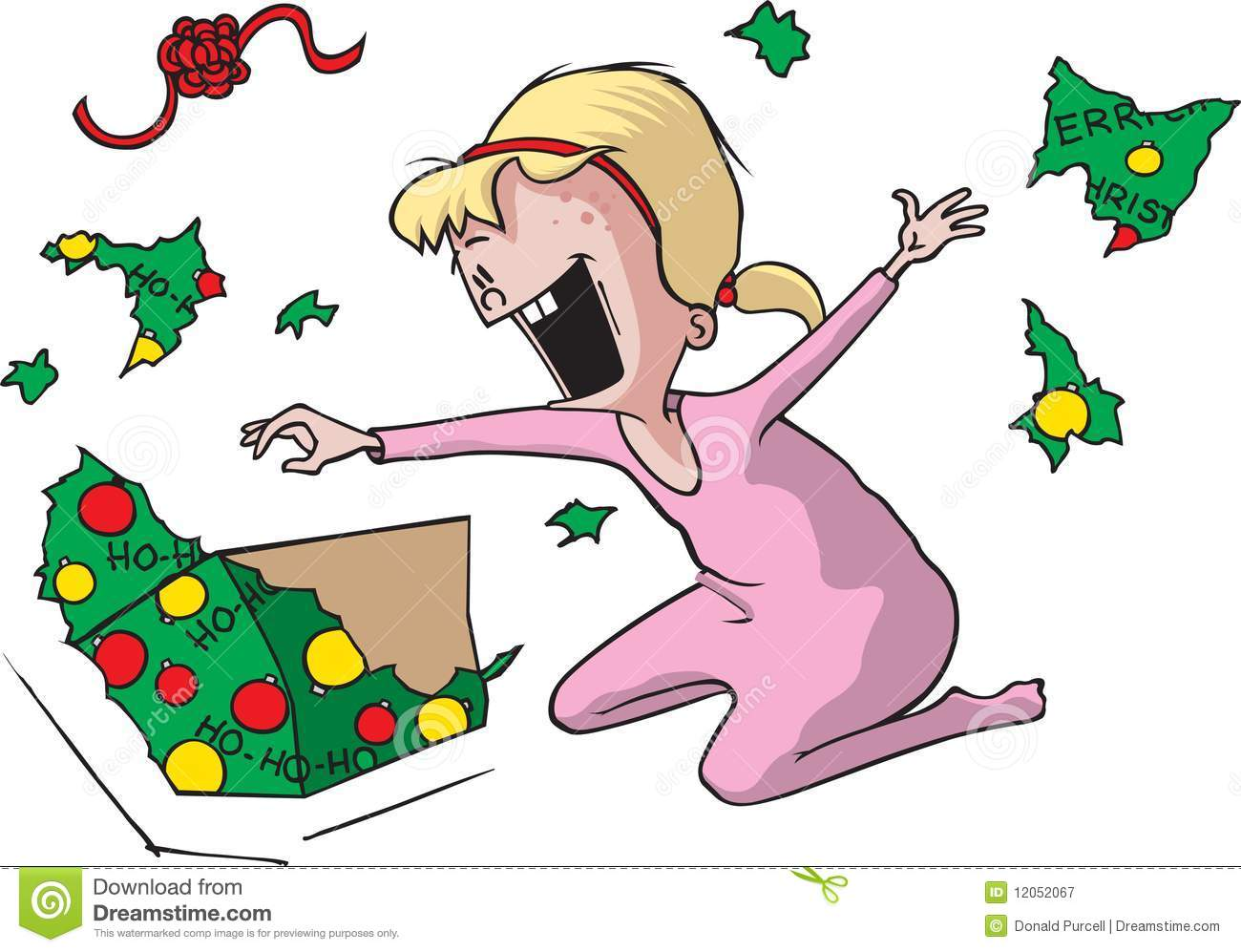 Girl Unwrapping Present Royalty Free Stock Photography ...