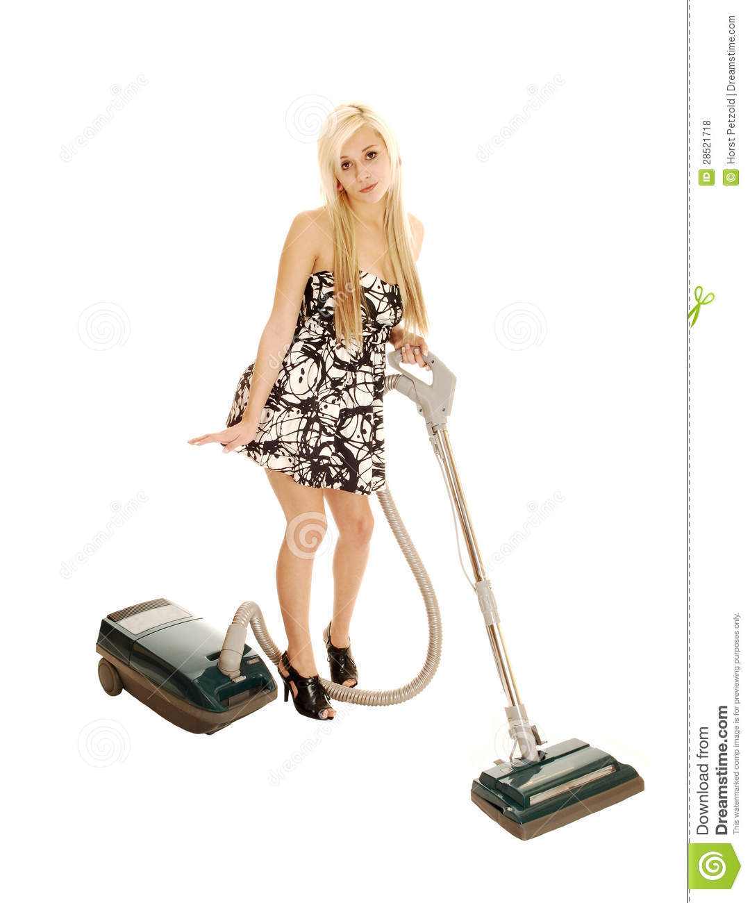 Girl With Vacuum. Stock Photo. Image Of Housework, Device
