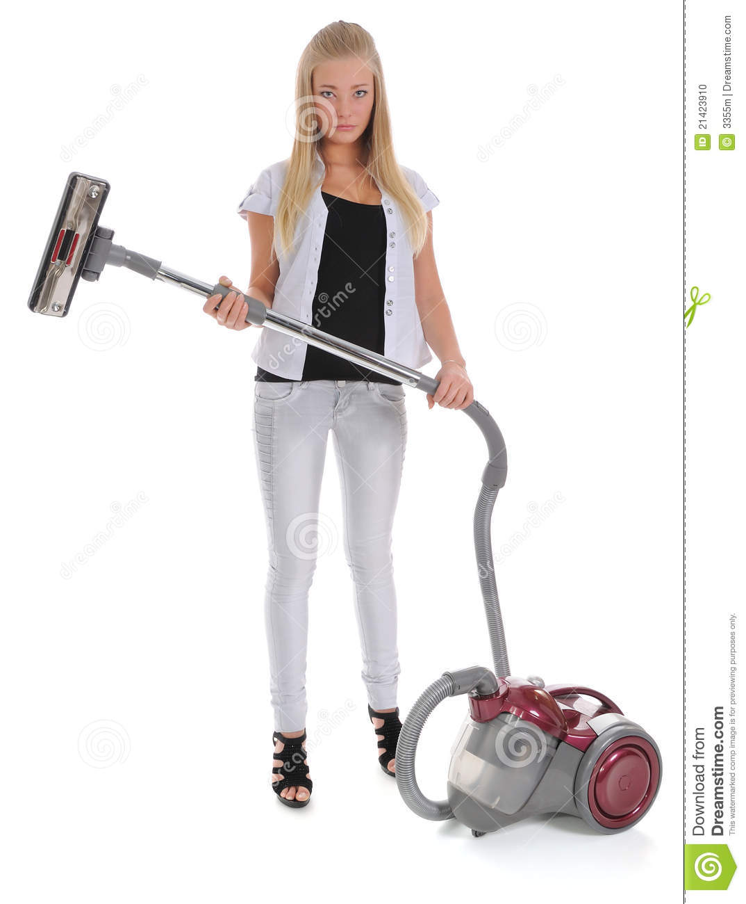 Girl And Vacuum Cleaner Stock Photo  Image 21423910 ~ Staubsauger Yes