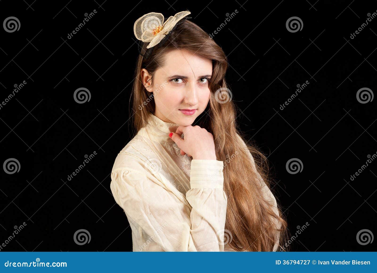 hand under her dress