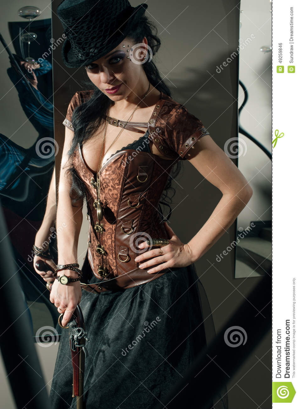 Girl With Vintage Gun Stock Photo Image Of Watch Girl