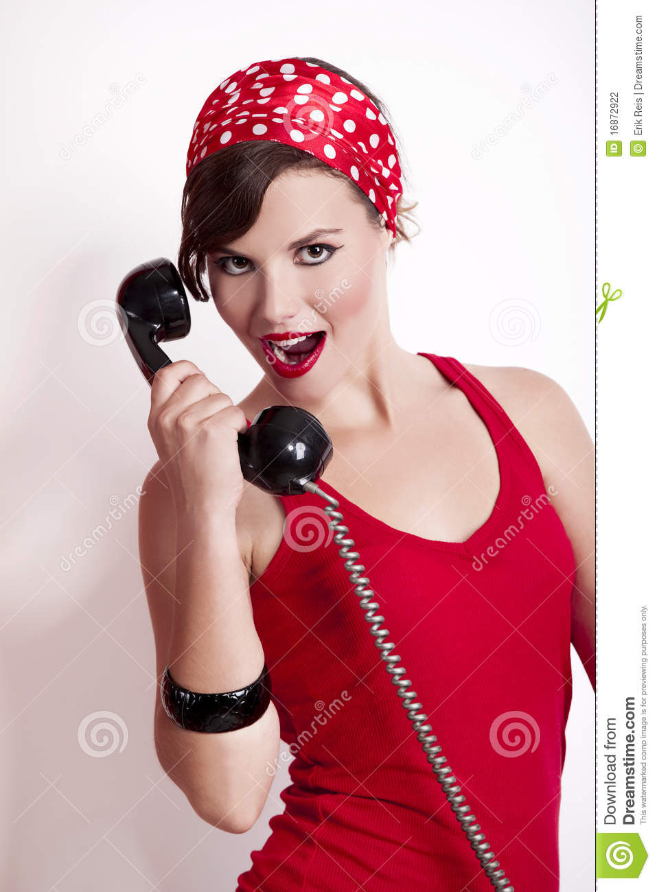 Girl With A Vintage Phone Stock Photo Image Of Attractive 16872922