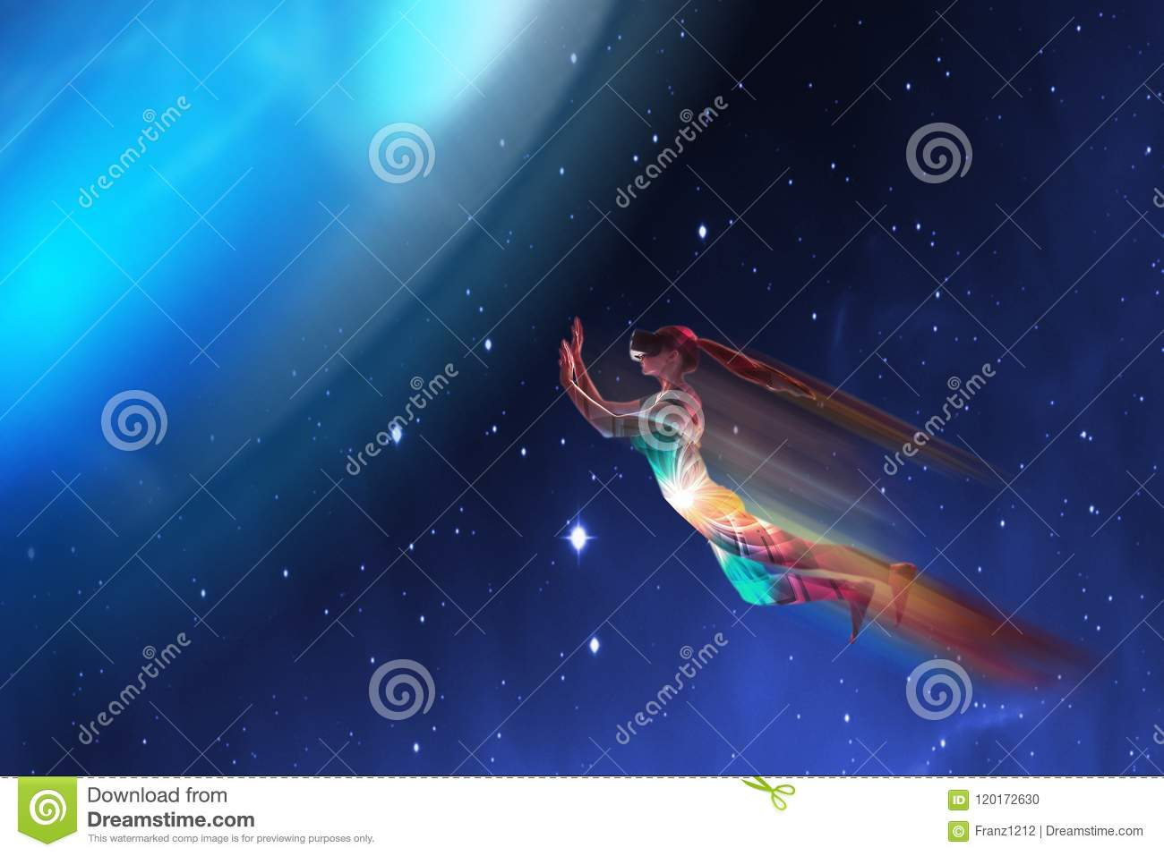 Download A Girl In Virtual Reality Glasses Dreams That She Is Flying. Concept Of Modern Technologies And Technologies Of The Stock Photo - Image of helmet, dream: 120172630