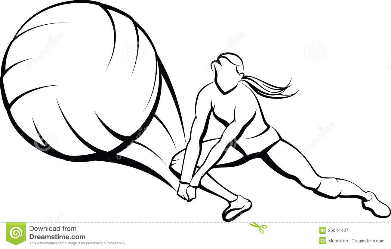Girl Volleyball Dig Stock Vector Illustration Of Vector 25644437