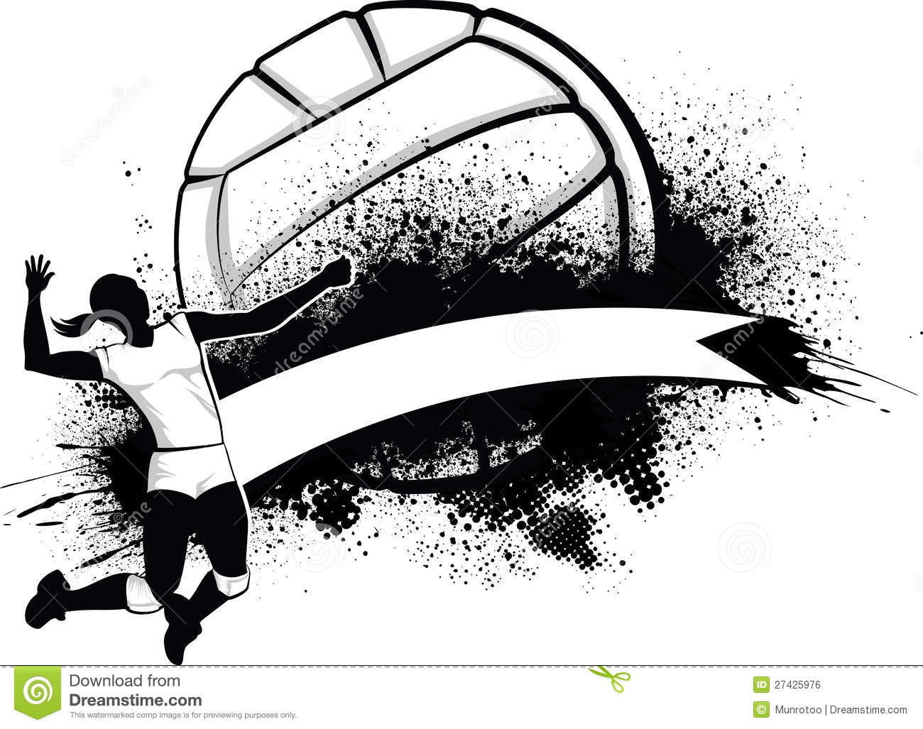 Abstract Grungy Background Volleyball Arrowhead Stock: Girl Volleyball Grunge Banner Royalty Free Stock Image