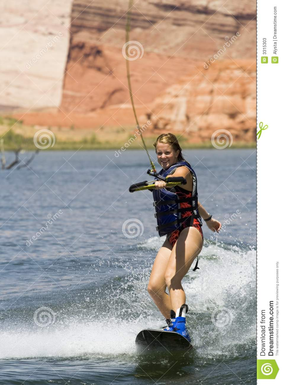 Girl Wakeboarding At Lake Powe Stock Photos - Image: 3315303