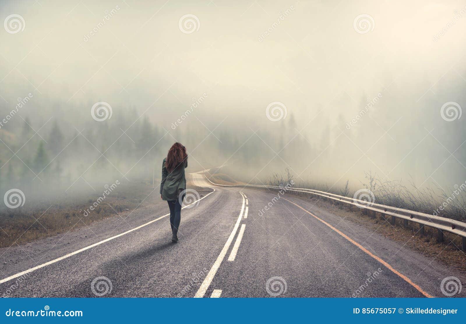 girl walking alone