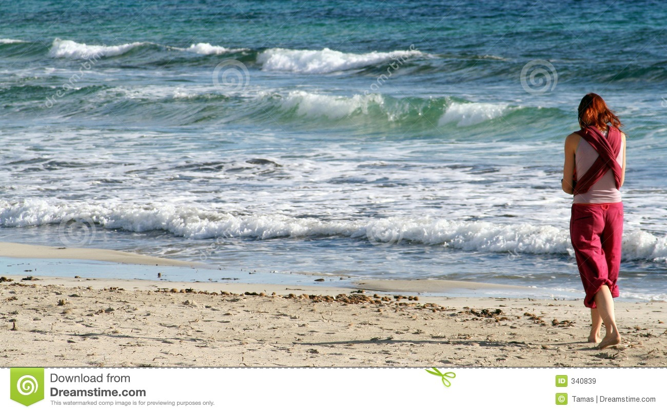 Girl Walking On Beach Royalty Free Stock Images - Image ...