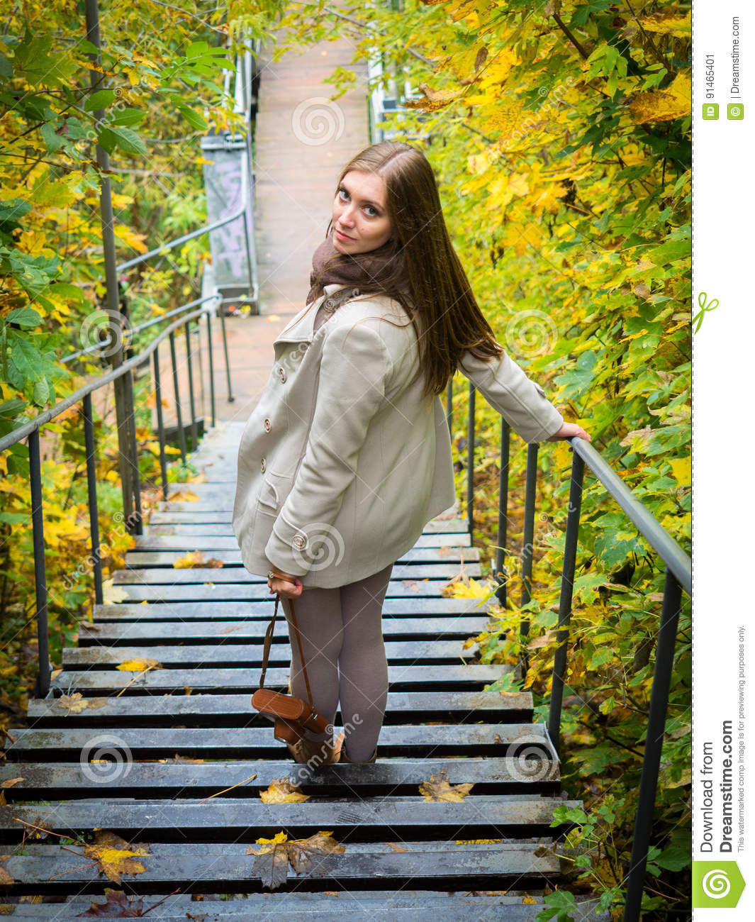 Tourist Girl Walking Down The Stairs Stock Image - Image