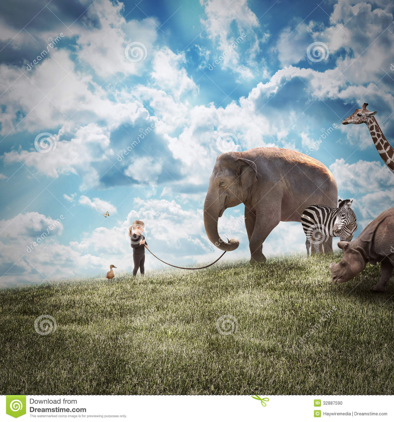 Download Girl Walking Elephant And Animals In Nature Stock Photo - Image of endangered, journey: 32887590