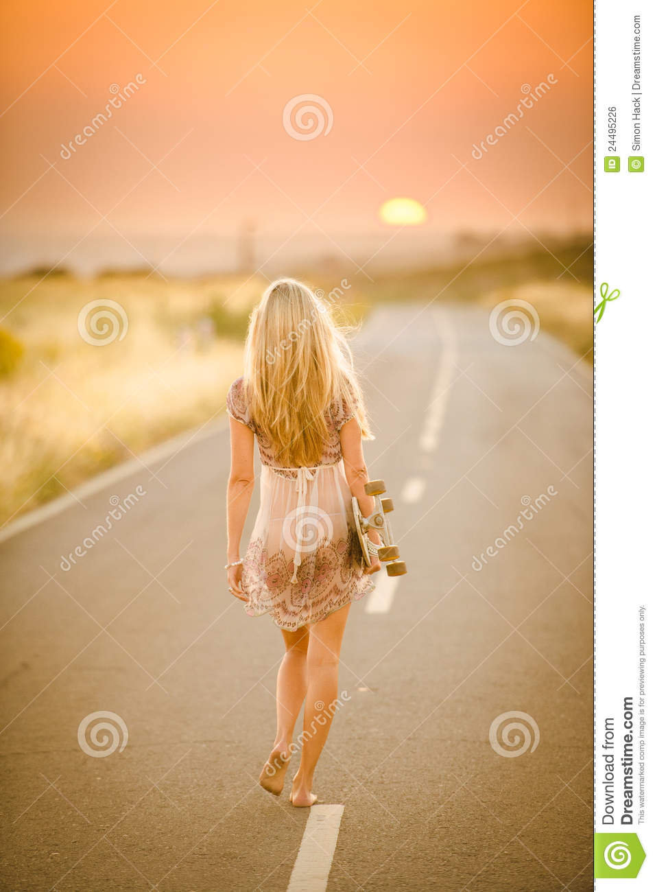 Girl Walking With Her Skateboard Royalty Free Stock Image - Image ...