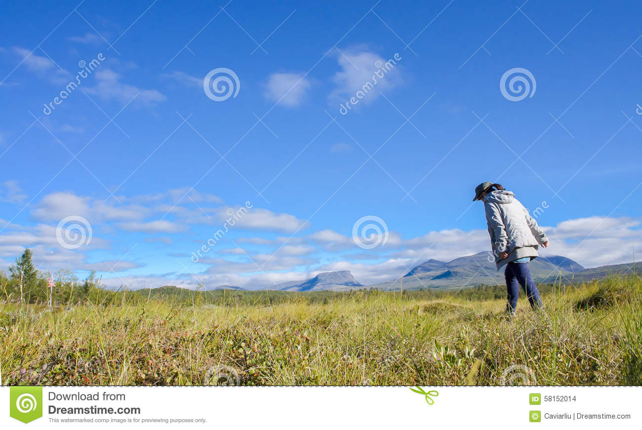 Girl walking in the Mountain landscape in Sweden and a hiker,Abisko national park in North of Sweden(northern scandinavia)