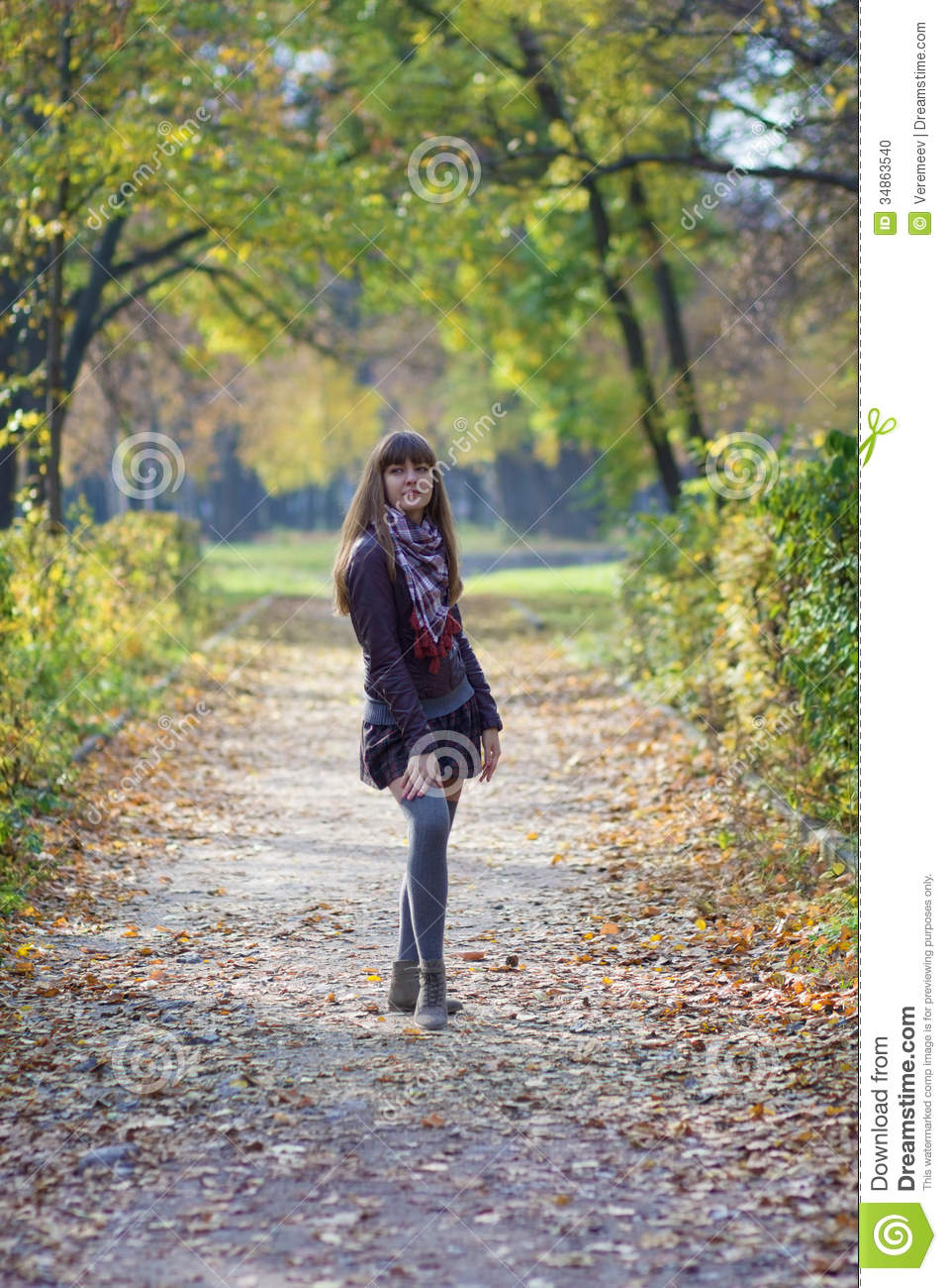 Girl Walking In The Park Stock Photo Image 34863540