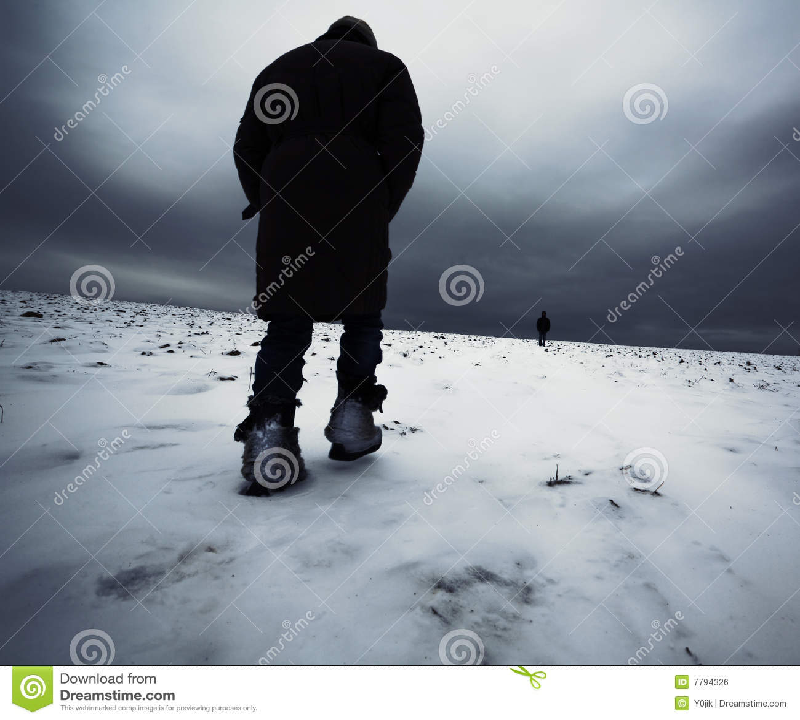 Download A Girl Walking On Show Field Stock Photo - Image of barren, meet: 7794326