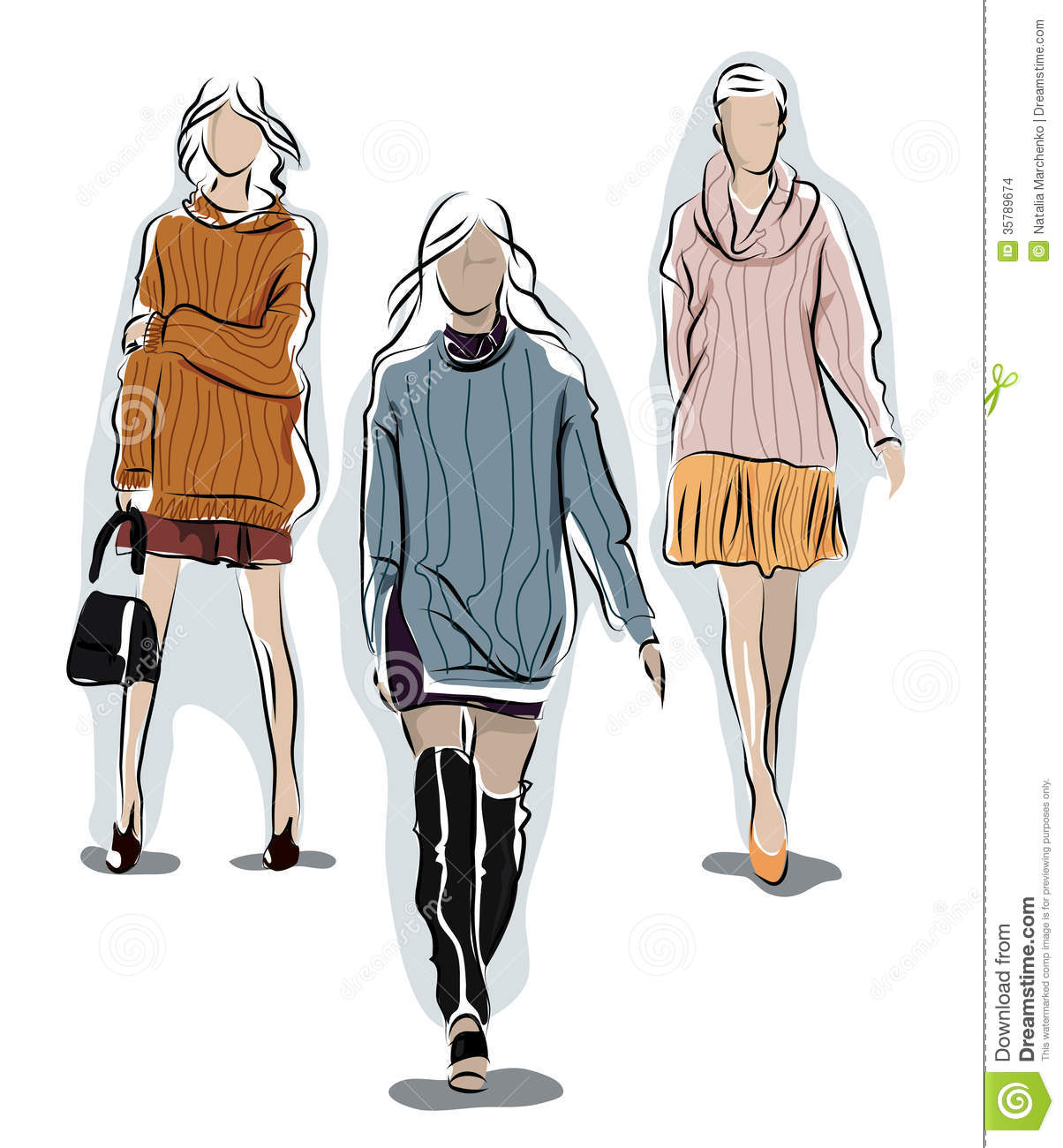 Girl In A Warm Sweater Stock Illustration. Illustration Of