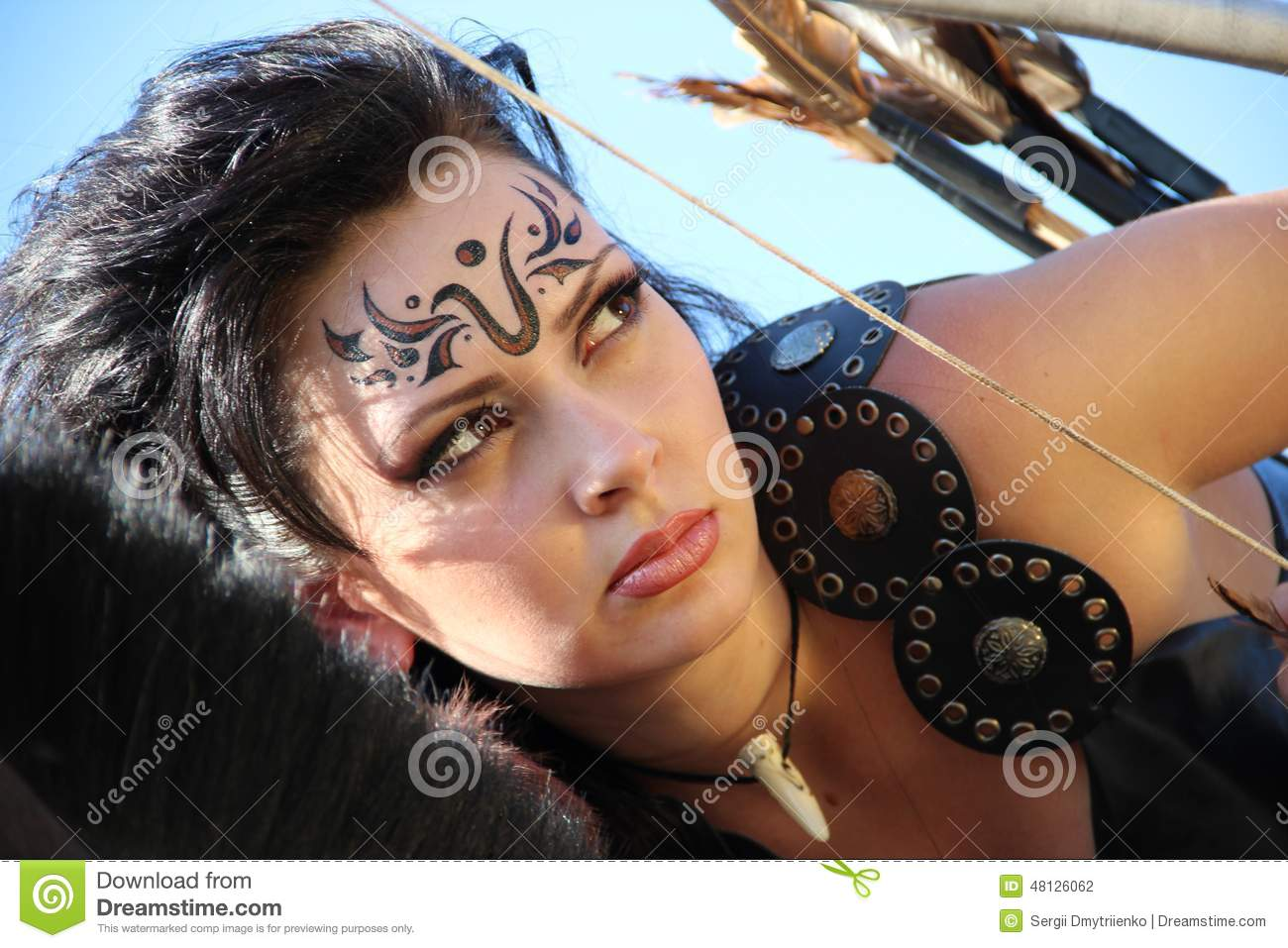 girl warrior amazon armed with bow and arrows stock photo image 48126062. Black Bedroom Furniture Sets. Home Design Ideas