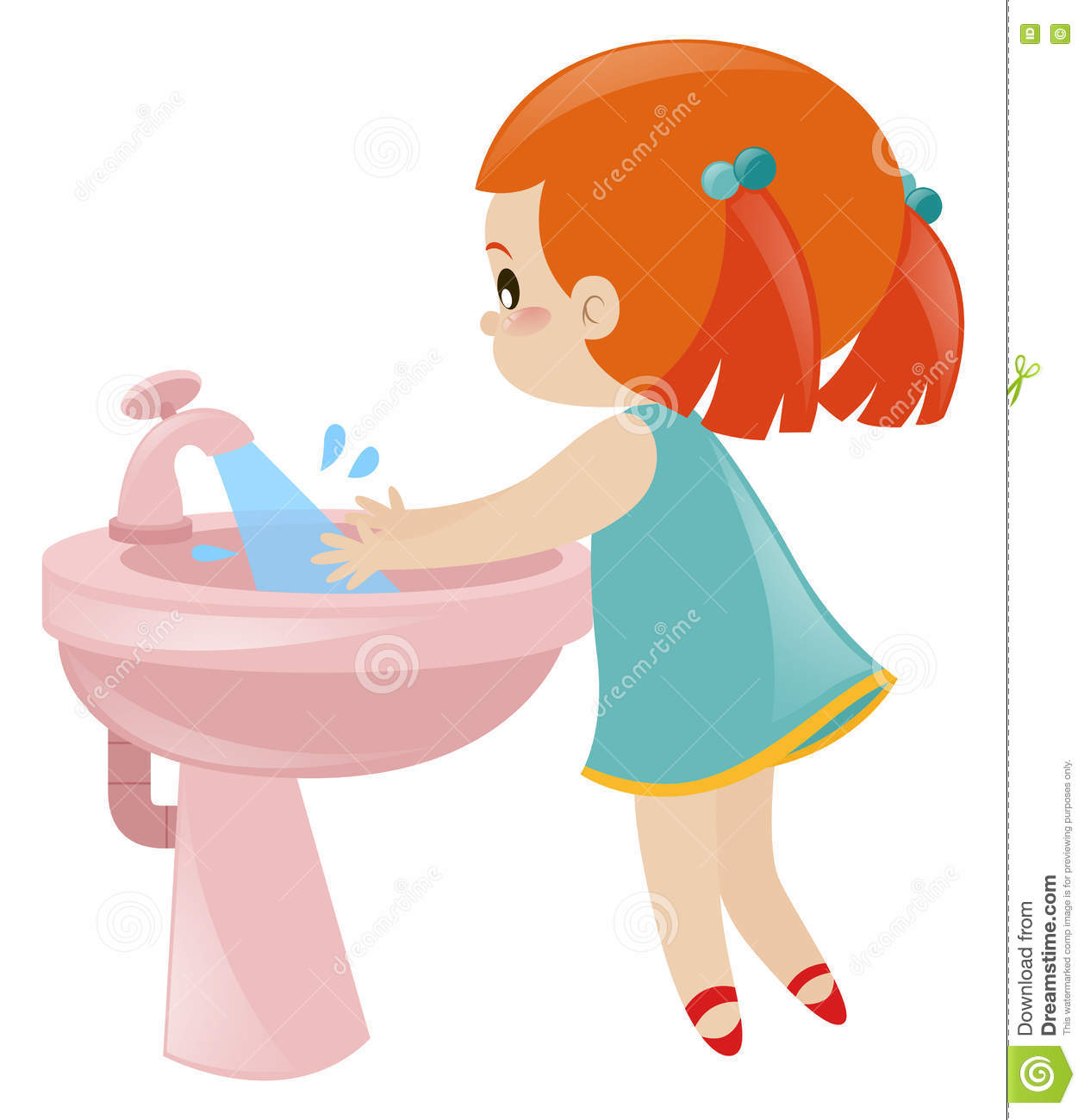 Girl washing hands in sink