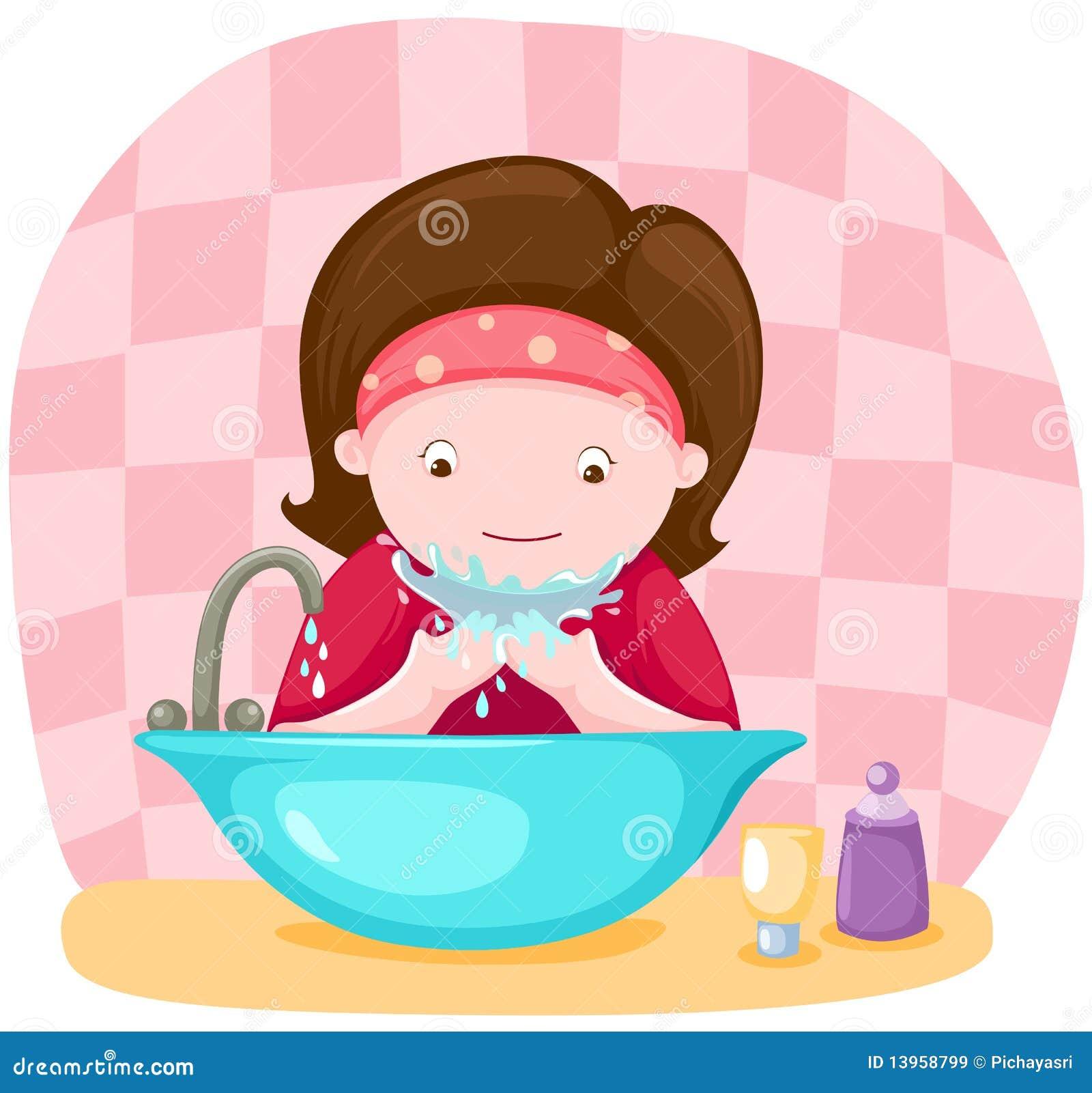 Cute Of Cartoon Washing Face Stock Vector - Image: 40625553