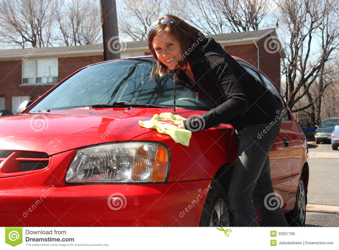 Girl Washing Red Car Outdoor on Car Wax Red