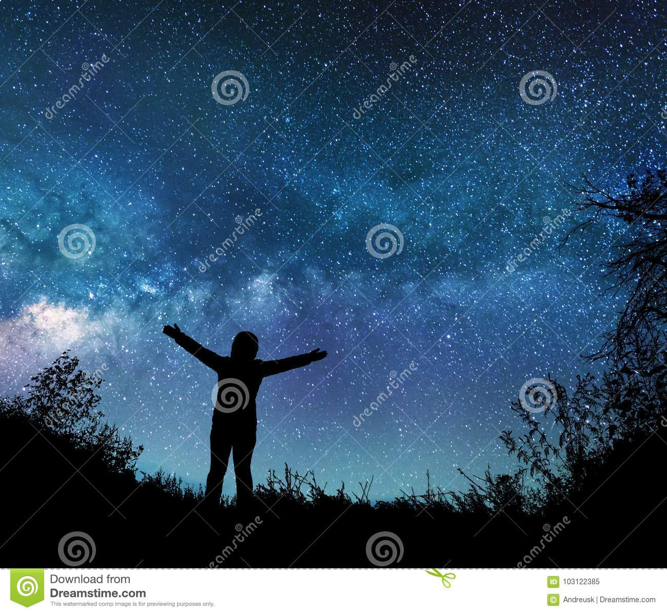 Girl Watching The Stars In Night Sky Stock Image - Image of