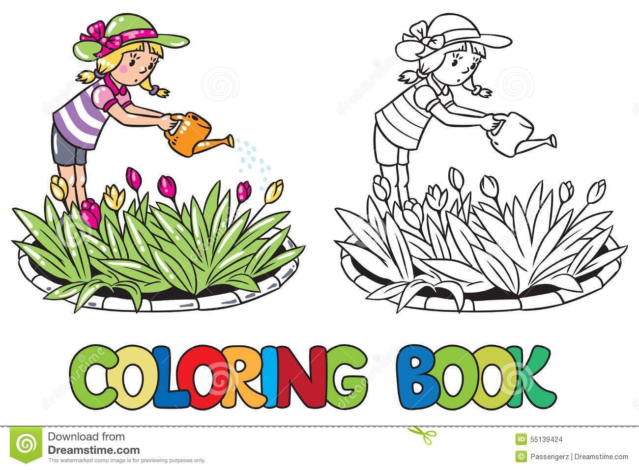 Girl Watering The Flowers. Coloring Book Stock Vector - Illustration ...