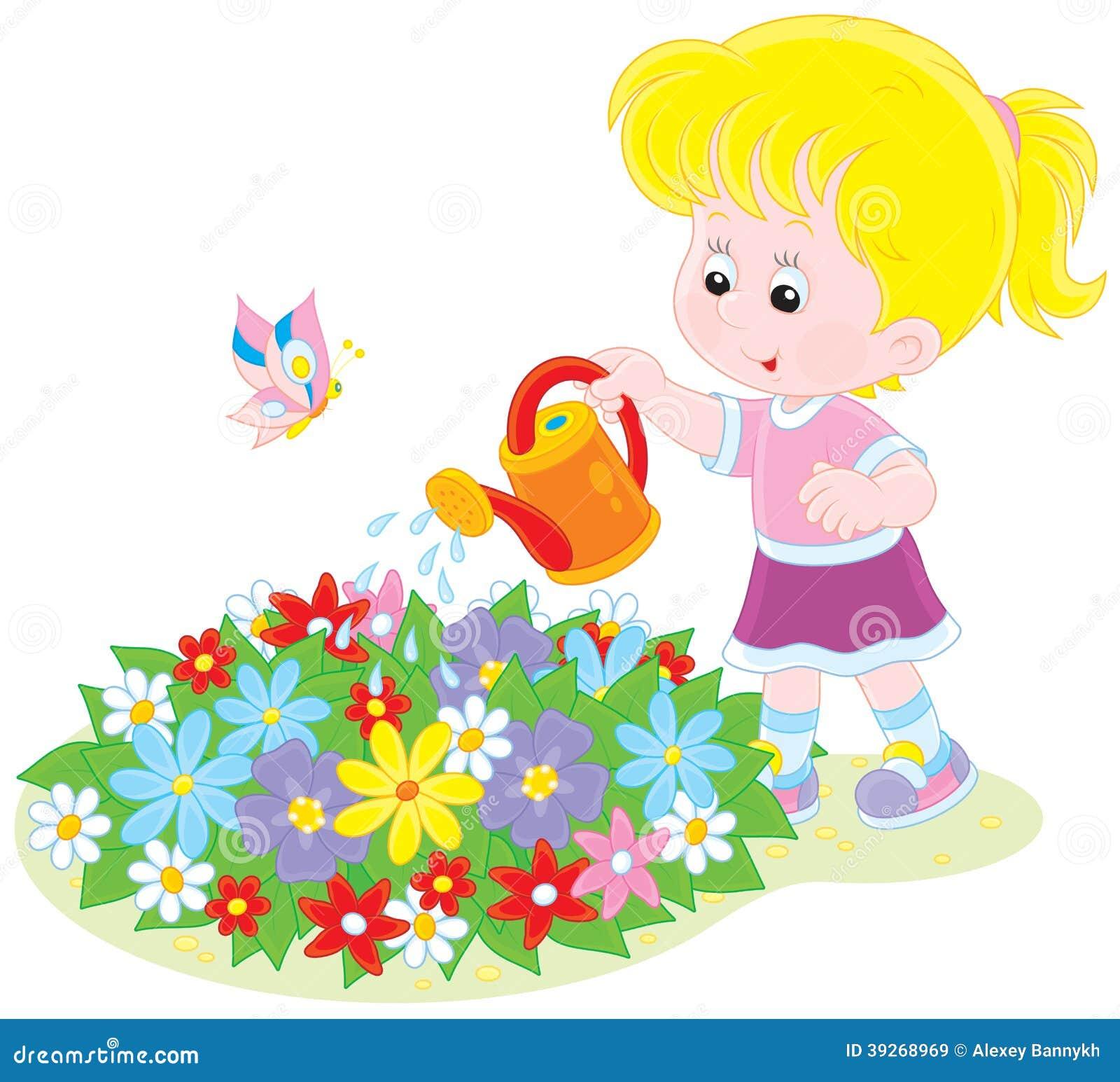 Girl Watering Flowers Stock Vector Image 39268969