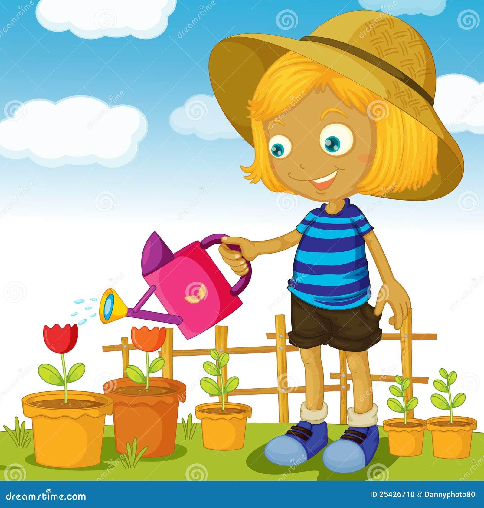 a girl watering plants stock photo image 25426710 backyard games clipart backyard clipart