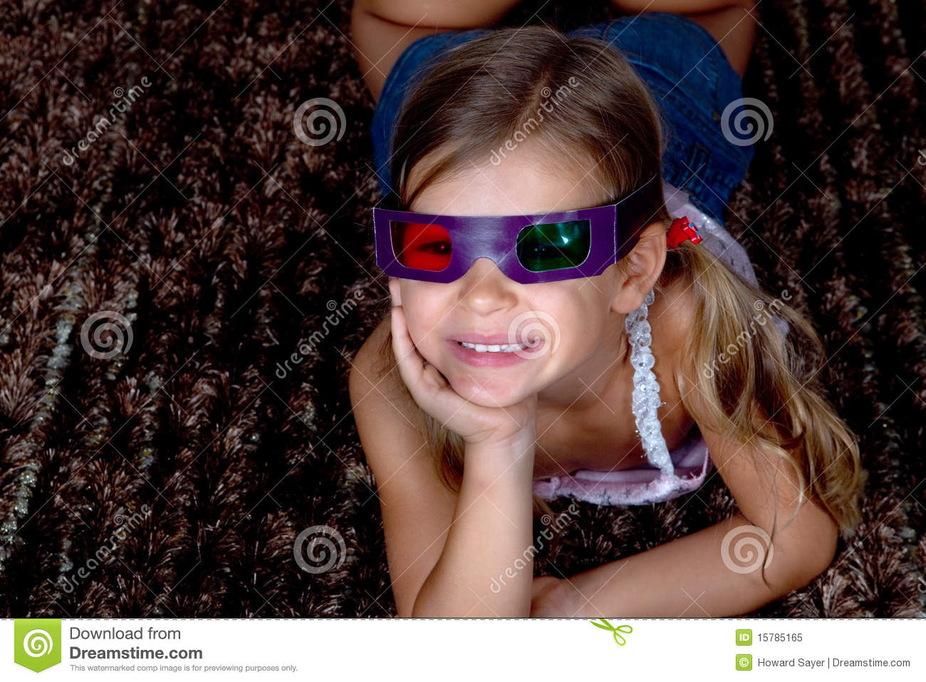 Girl wearing 3D glasses stock image. Image of three ...