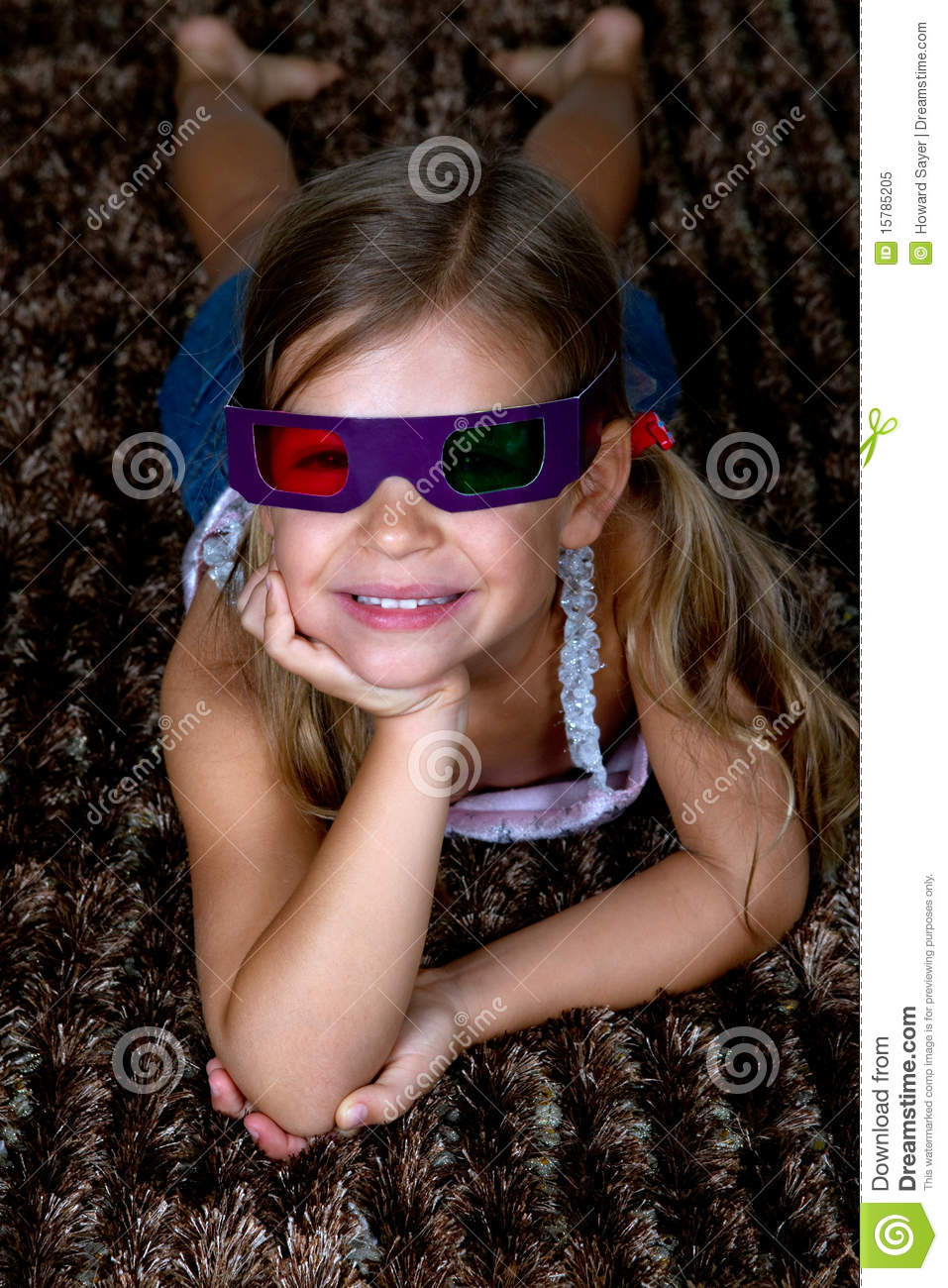 Girl Wearing 3D Glasses Royalty Free Stock Photo - Image ...